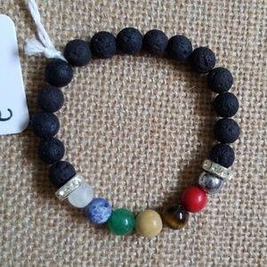 Chakra stone essential oils lava bracelet